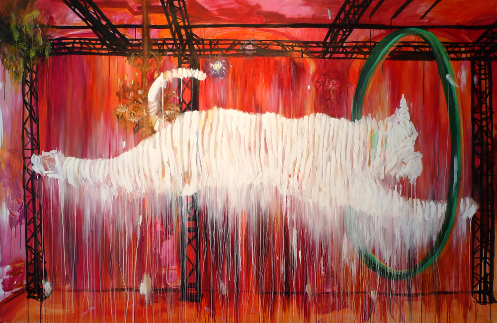 Red Rover   oil, acrylic  67″ x 104″/170 cm x 264 cm  2011