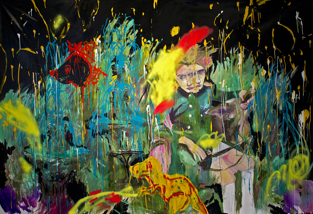 Animal Lovers oil, acrylic, enamel, spray paint 67″ x 101″/ 170 cm x 257 cm 2010