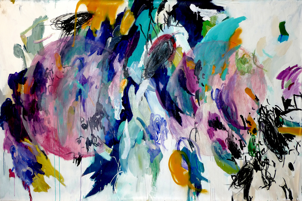Jacque  acrylic, oil, makeup, china marker 67″ x 103″/170 cm x 262 cm 2010
