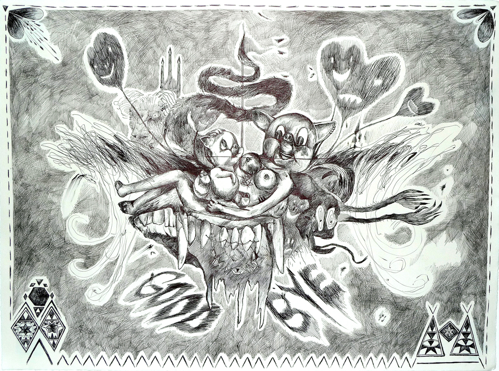 Fruit Bowl   Ballpoint Pen on Archival Paper  22″ x 30″ / 55.88 cm x 76.2 cm  2013