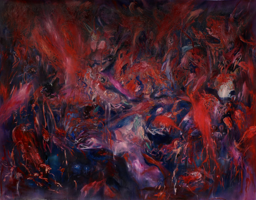 Dooms-da-di-day  oil, spray paint 55″ x 73″/140 cm x 185 cm 2012