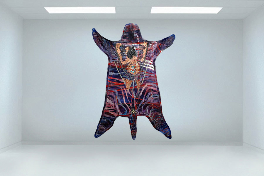Supernatural Lamb oil, metal studs, copper leaf, assorted decals 95″ x 72″/241 cm x 183 cm 2011