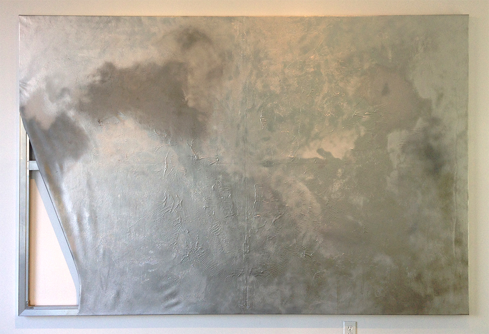 "White Hot   spray paint, oil, acrylic on canvas, stainless steel  67"" x 99""/170 cm x 251 cm  2013"