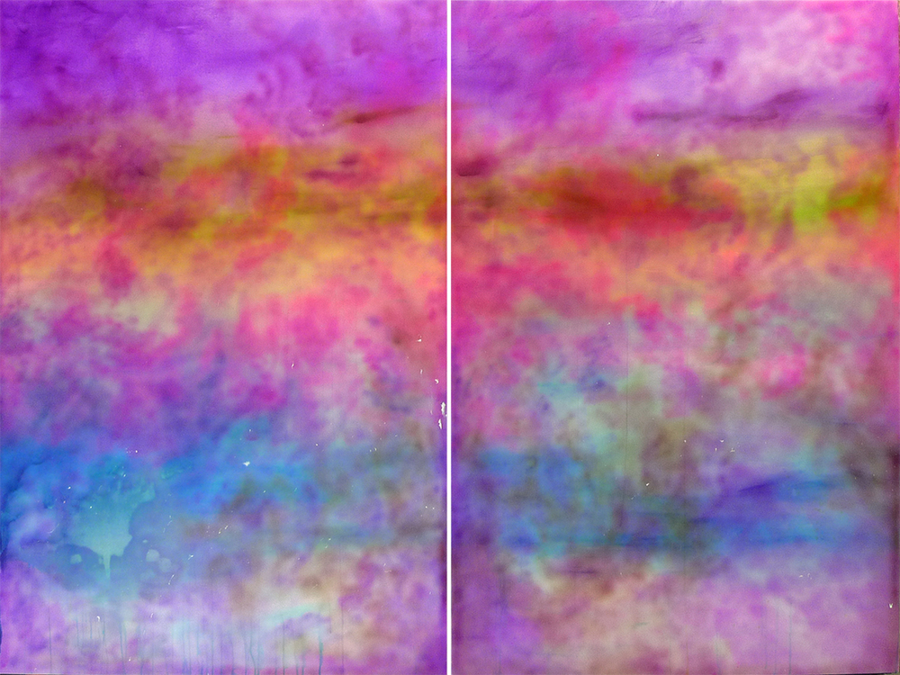 "II 53 (diptych) oil and acrylic on canvas 72"" x 96"" / 183 cm x 244 cm 2014"