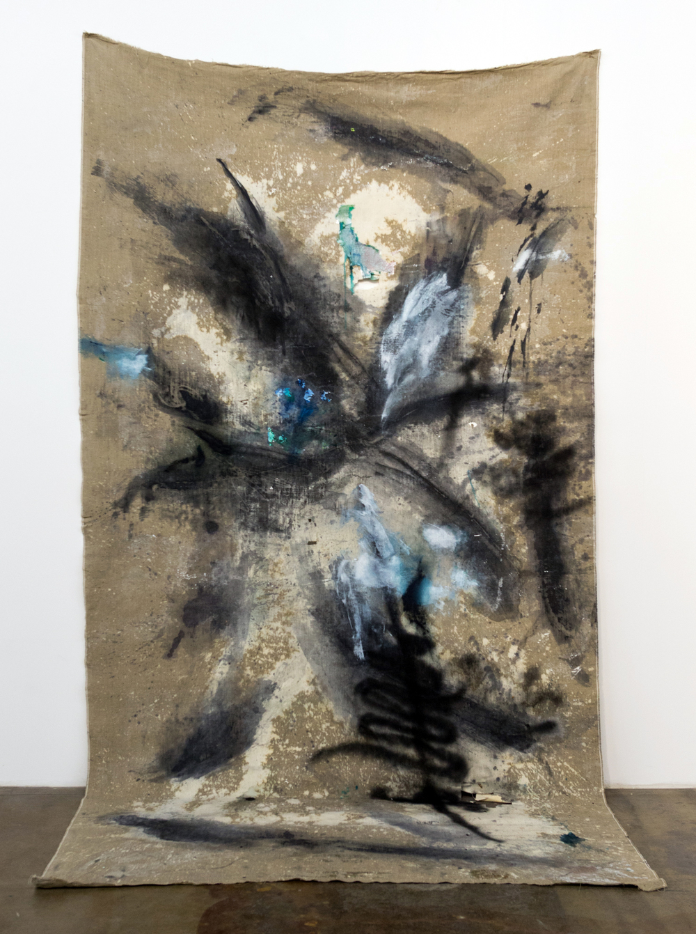 MLSL_05_Malice  , 2015  Oil, acrylic, bleach, drywall, lead and spray paint on linen  135 x 71.5 in (342.9 x 181.61 cm)