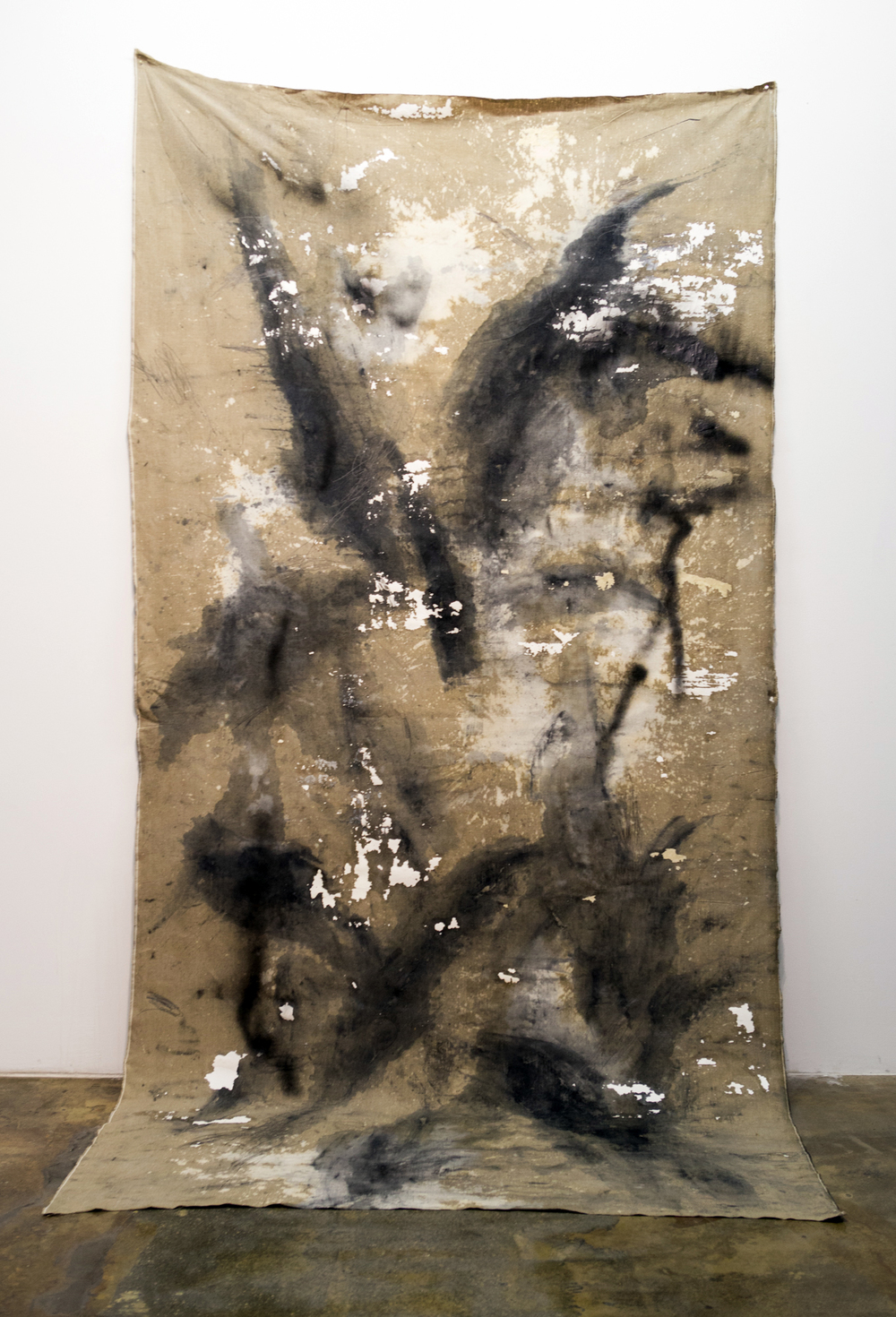 MLSL_06_Wölf,   2015  Oil, acrylic, bleach, drywall, lead and spray paint on linen  144 x 71.5 in (365.76 x 181.61 cm)