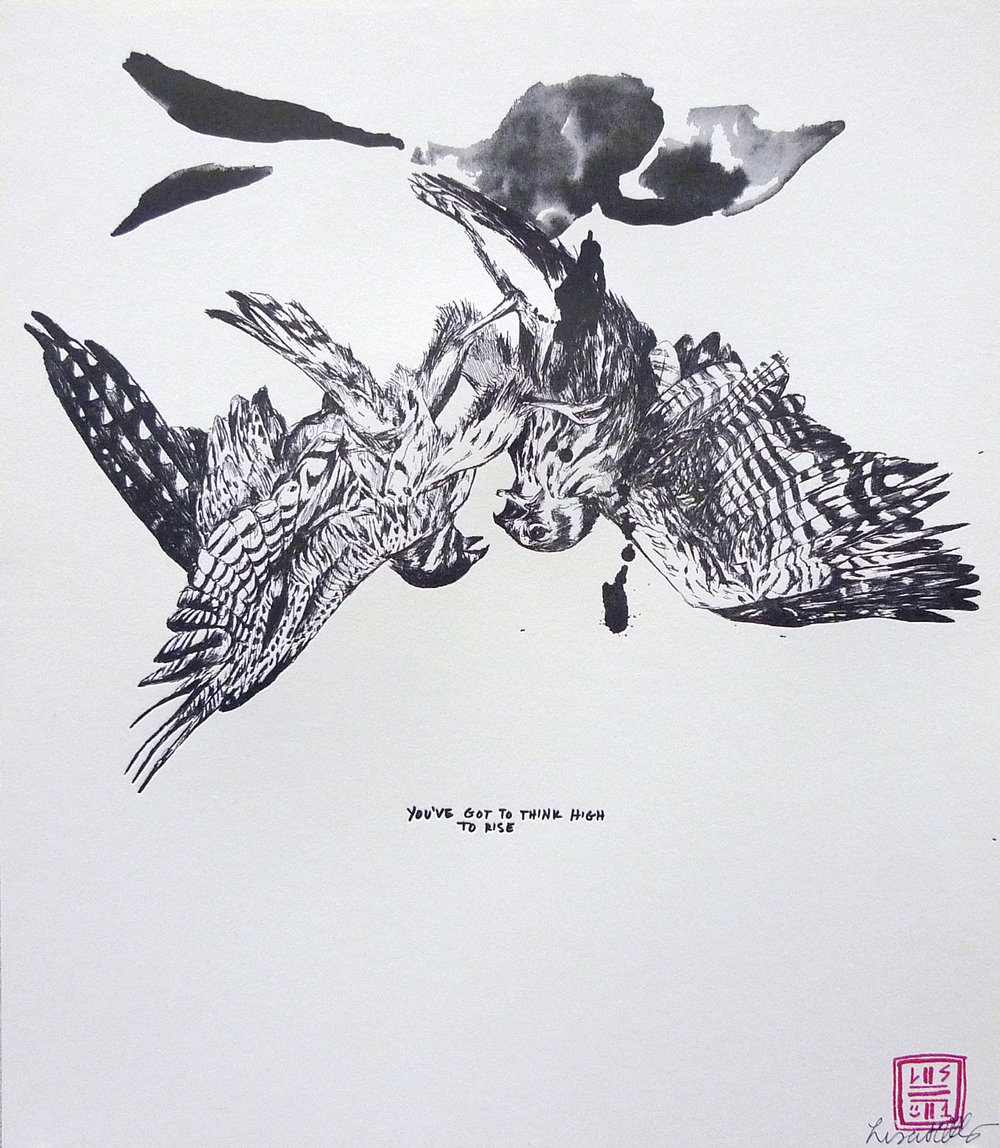"'TIL DEATH DO US PART -  BIRDS   Signed letterpress print on archival paper exclusively for A. Kinney Court by Los Angeles native artist Lisa Solberg. 15"" x 13""  purchase  here"