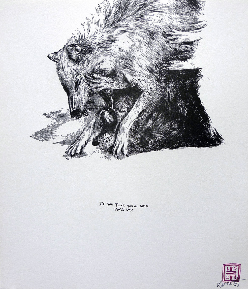 "'TIL DEATH DO US PART - WOLVES Signed letterpress print on archival paper exclusively for A. Kinney Court by Los Angeles native artist Lisa Solberg. 15"" x 13"" purchase here"