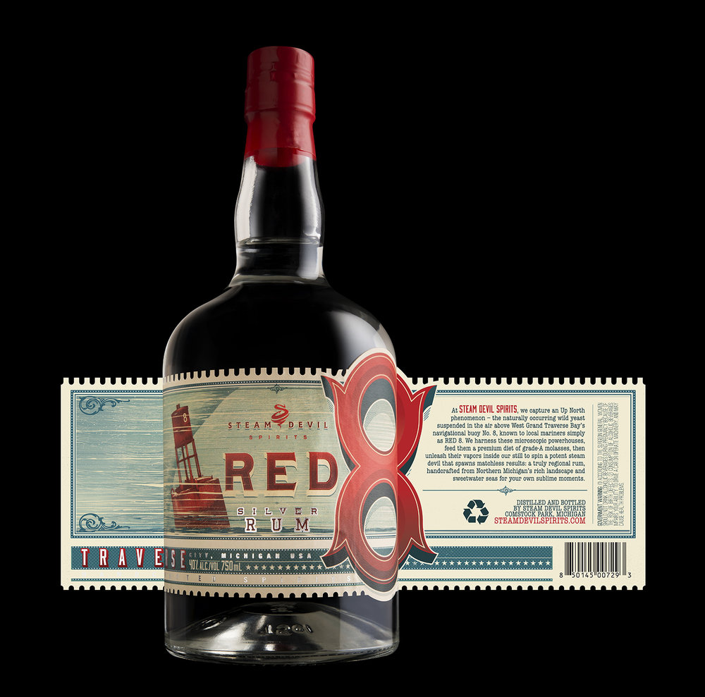 Packaging Design for Steam Devil Spirits' Red 8 Rum