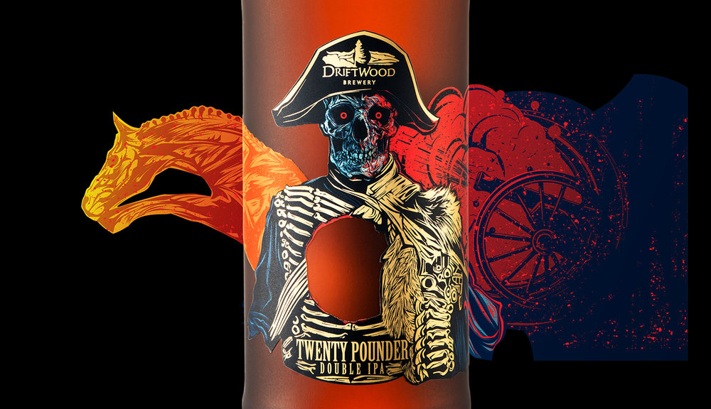Packaging Design for Driftwood Brewery's Twenty Pounder Double IPA