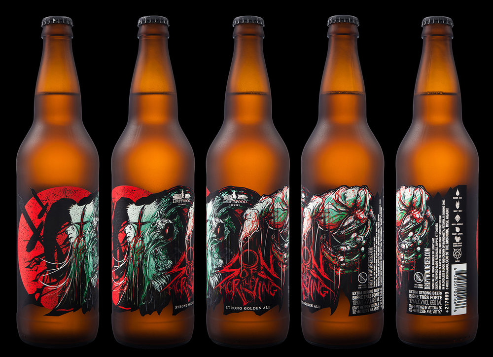 Packaging Design for Driftwood Brewery's Son of the Morning Strong Golden Ale