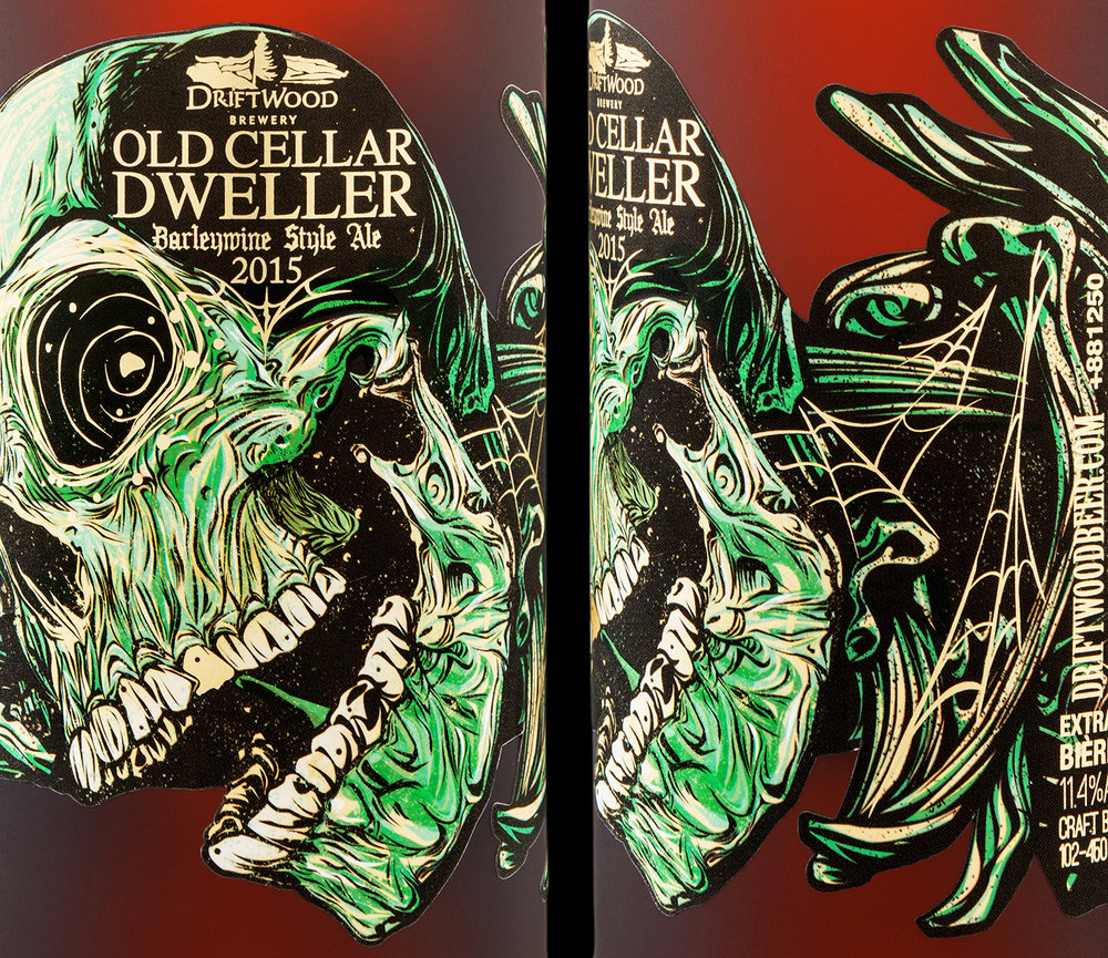 Packaging Design for Driftwood Brewery's Old Cellar Dweller Barleywine