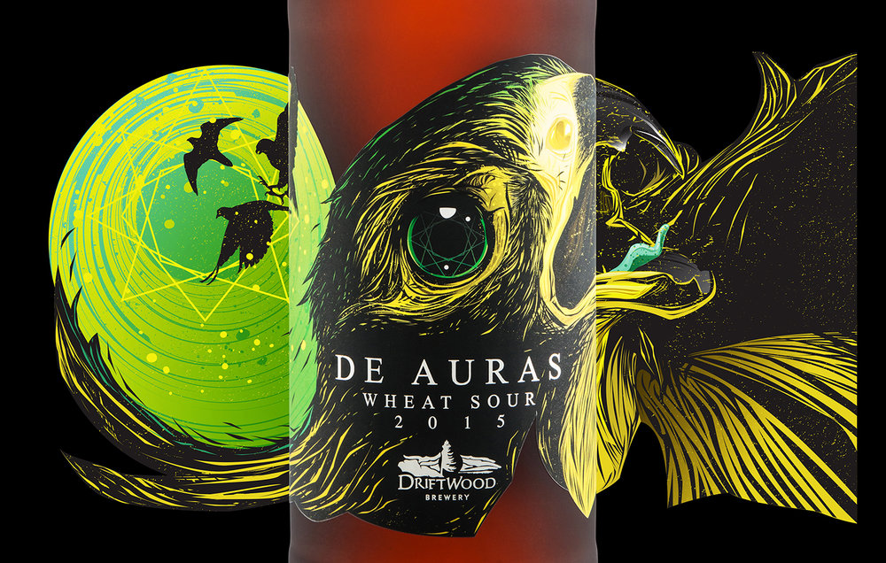 Packaging Design for Driftwood Brewery's De Auras Wheat Sour