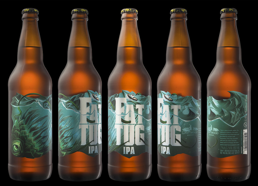Packaging Design for Driftwood Brewery's Fat Tug IPA