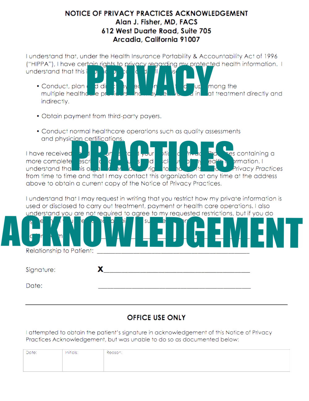 Privacy Practices Acknowledgement - click to open