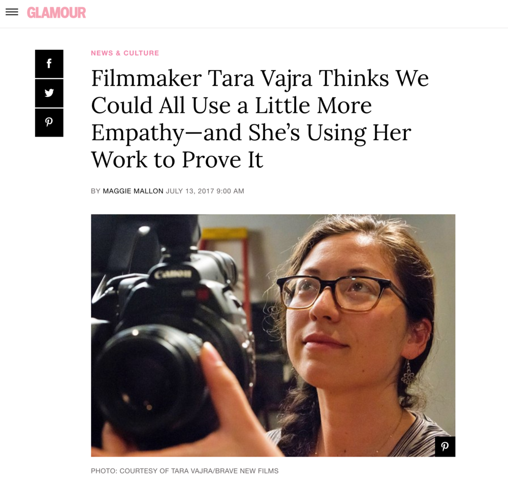 "Recent write up in Glamour magazine for my film ""40 Strangers 50 Questions"""