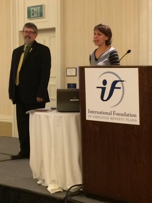 Dr. Mark Johnson and Elizabeth Campos speaking on Instructor Quality Initiatives. Photo by Tom DeRoche, IFEBP.
