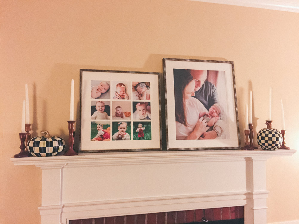 Baby Plan clients Amy and Matt sent me this snapshot of their gorgeous mantle at home, decorated with framed portraits from their Baby Plan sessions!