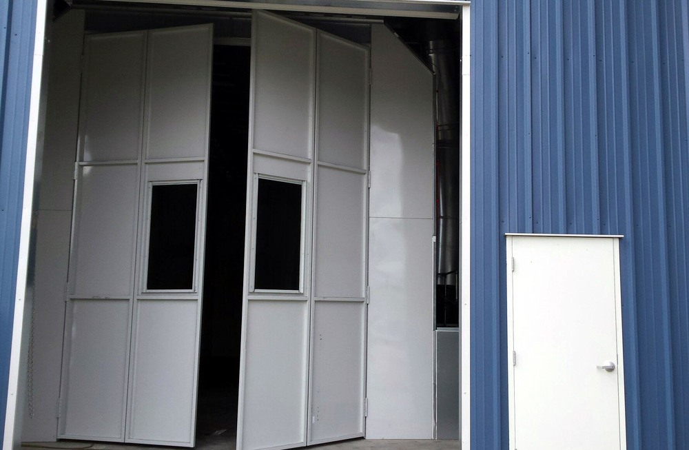 The Front View of the Entry Doors of our Large Truck, RV and Bus Paint Booth.