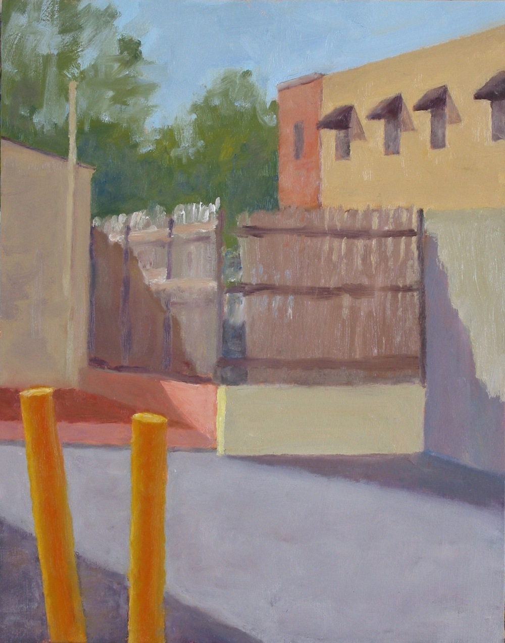 """Yellow Posts,"" 11""x14"", oil on paper."