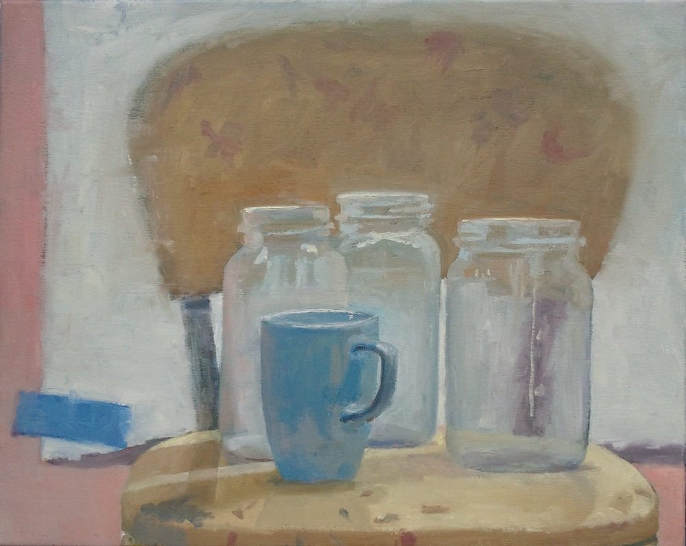 """Still Life with Jars, Mug and Blue Tape,"" 16""x20"", oil on canvas."