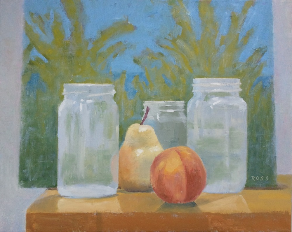 """Still Life with Jars, Fruit and Painting,"" 16""x20"", oil on canvas."