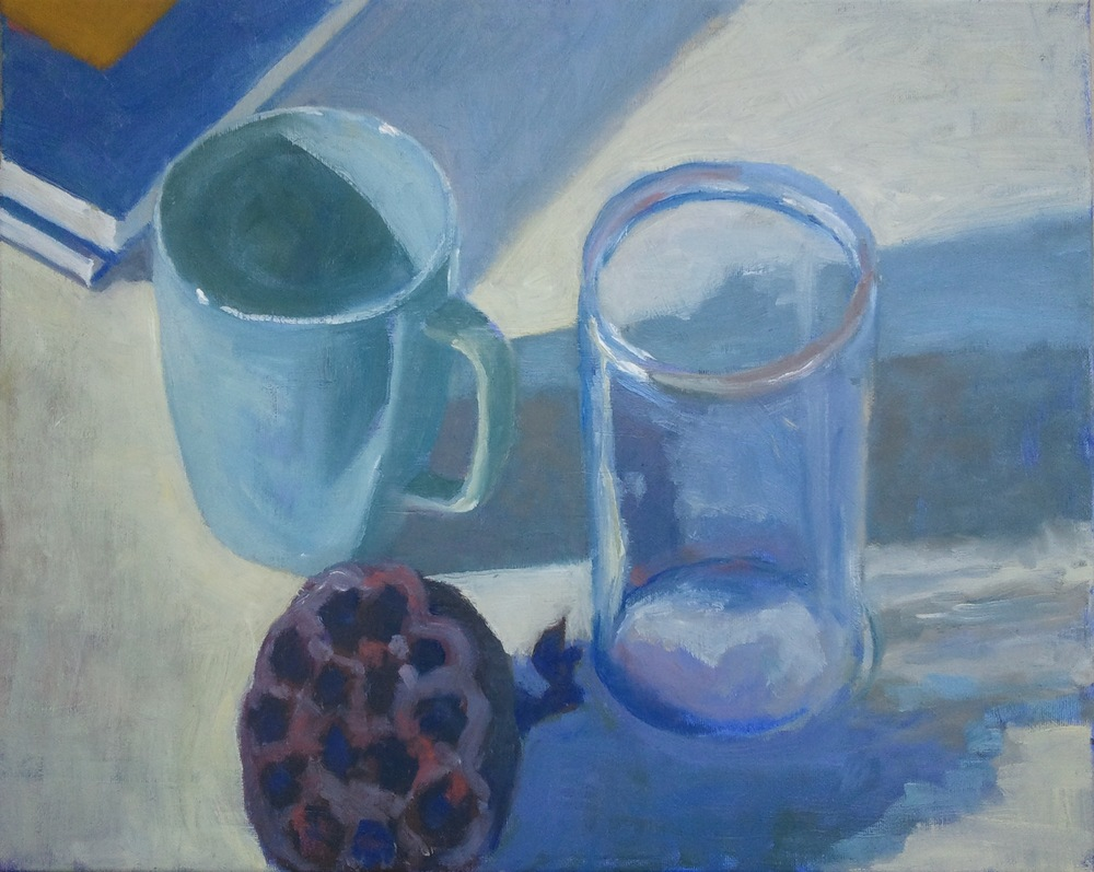 """Still Life with Jar, Mug and Lily Seedpod,"" 16""x20"", oil on canvas."
