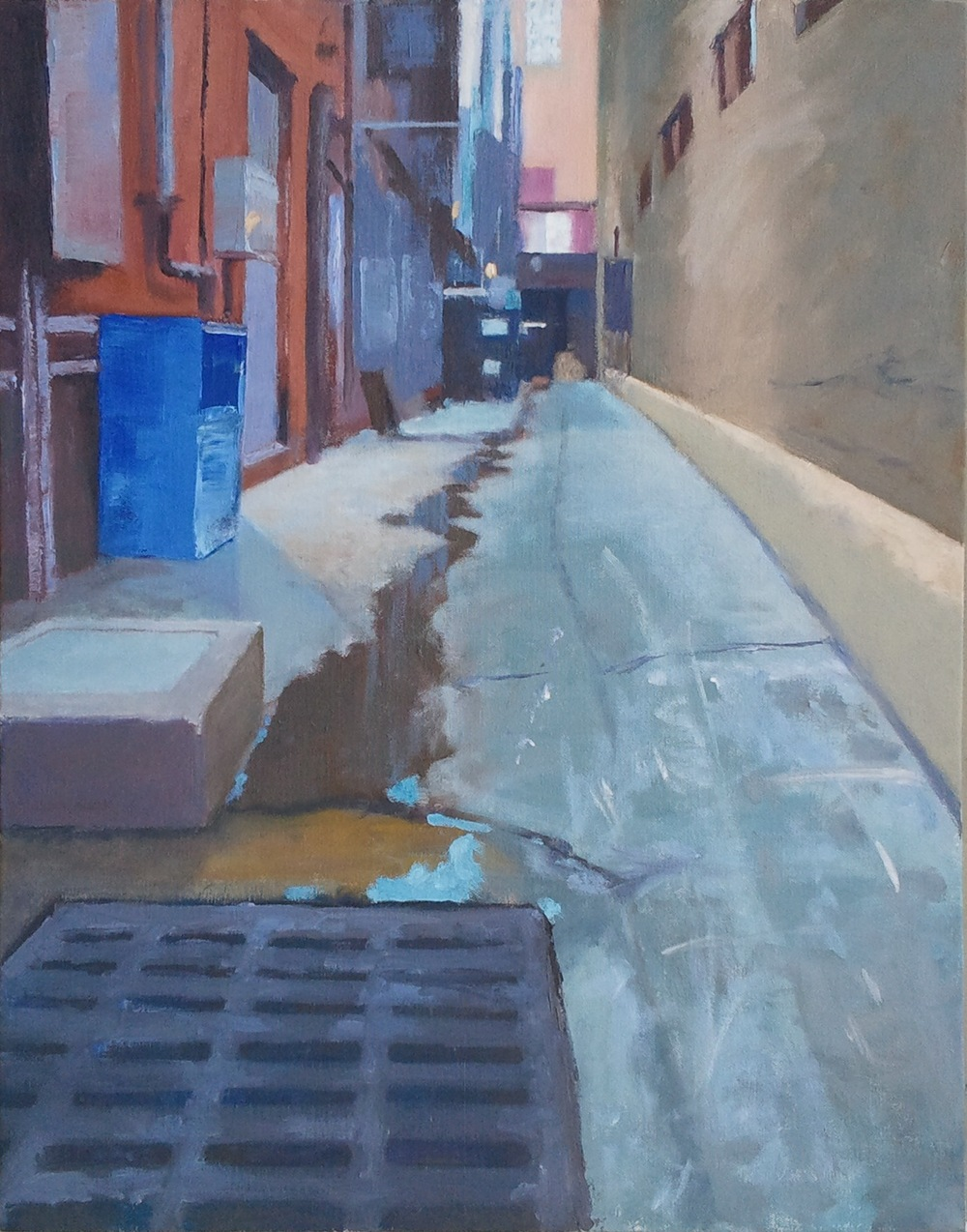 """Alley, Blue Box,"" 22""x28"", oil on canvas."