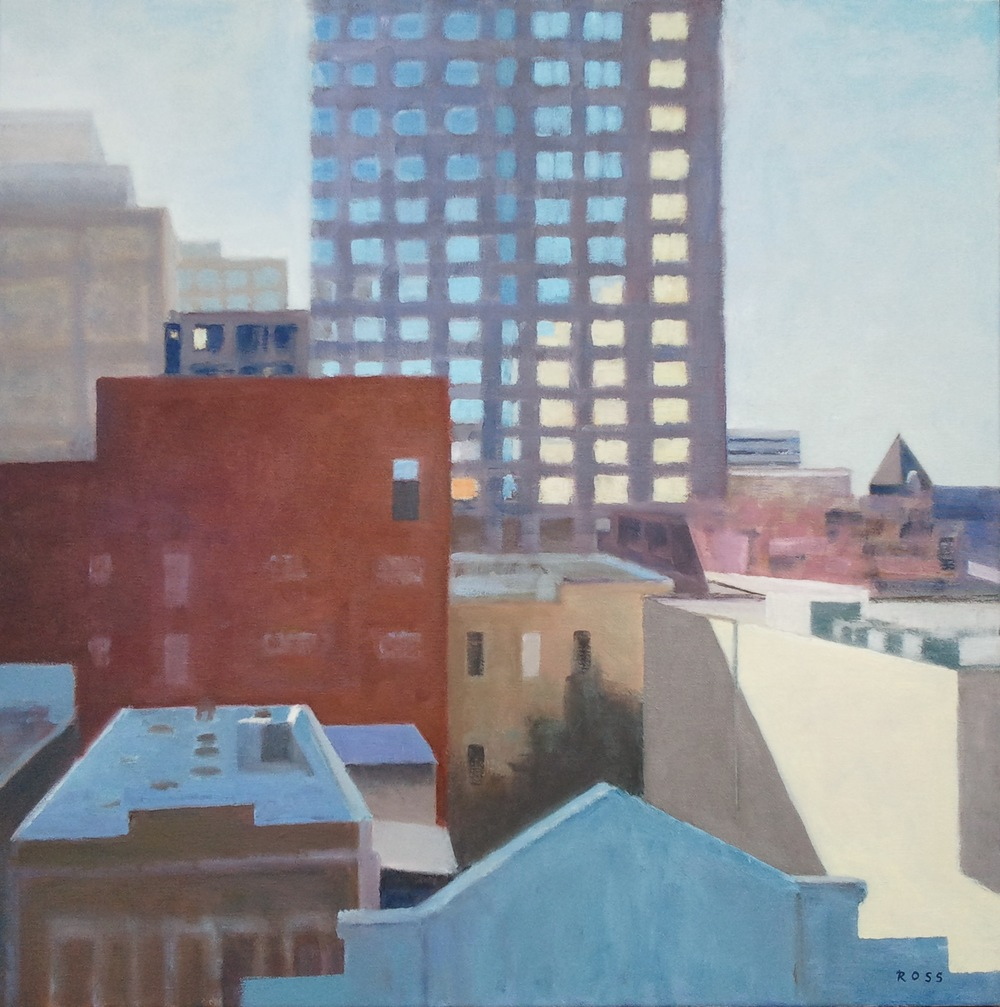 """Morning Rooftops,"" 30""x30"", oil on canvas."