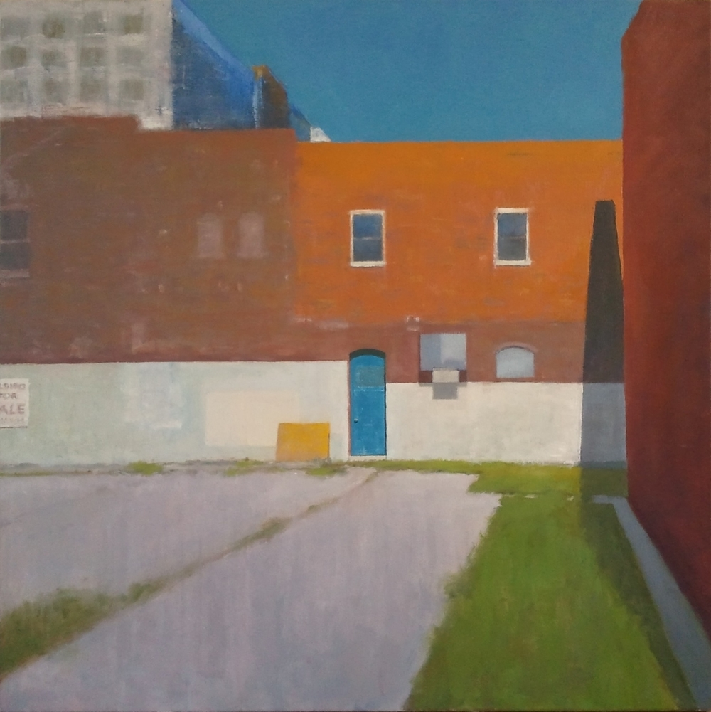 """Blue Door,"" 36""x36"", oil on canvas."