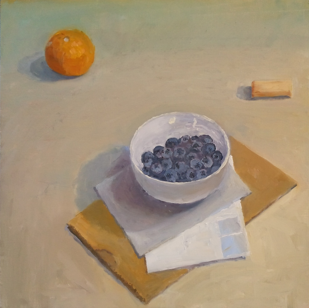 """Blueberries,"" 16""x16"", oil on wood."