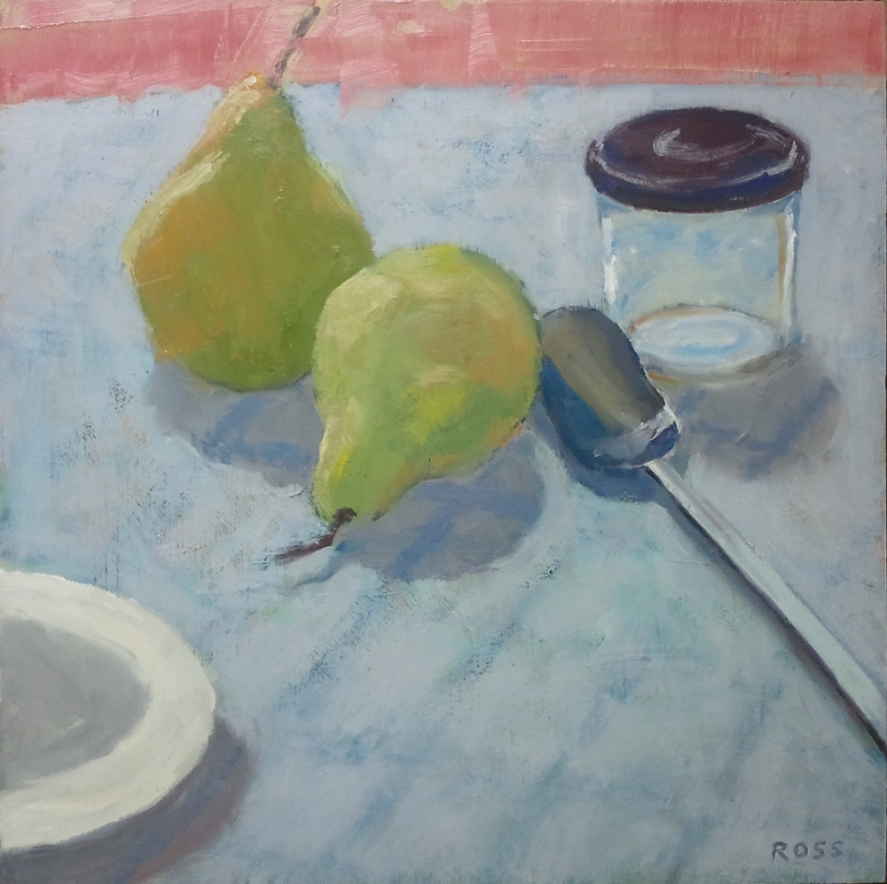 """Two Pears,"" 16""x16"", oil on wood."
