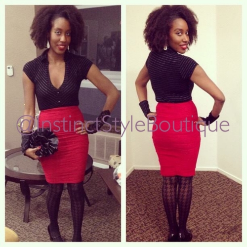 "Ms. Danyelle rocking our ""Red Hott"" skirt!  @miss.dany.flo"