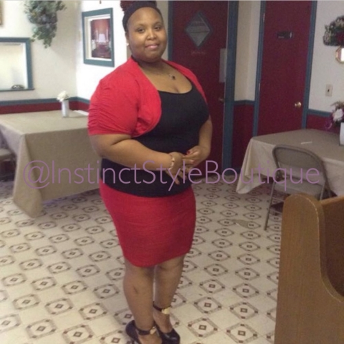 "Ms. Pauline looking beautiful in our ""Red Hott"" skirt!  @caramel__love__"
