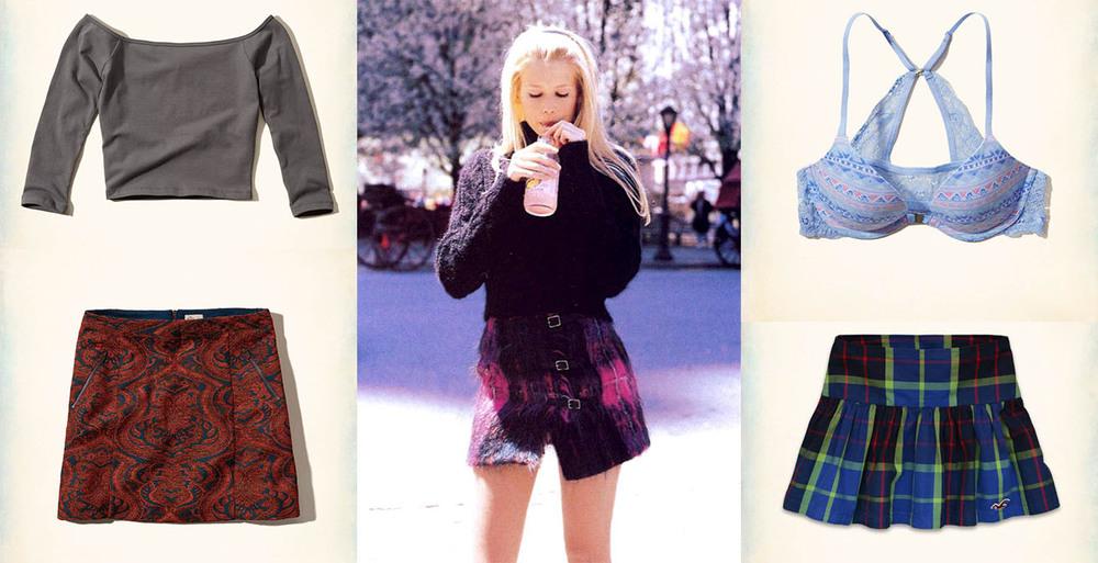 Crop top - $5, tapestry skirt - $15, push-up bra - $13, beach skirt - $15 (Hollister)