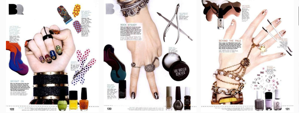 Nail story I worked on as fashion assistant for Nylon Magazine with stylist James Rosenthal and photographer Jamie Nelson