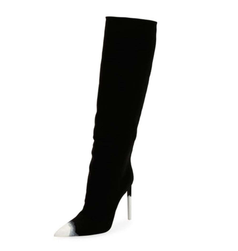 Tom Ford Knee-High Canvas 105mm Boot, Dark Blue