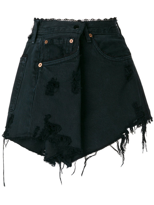 Almaz Distressed Denim Skirt