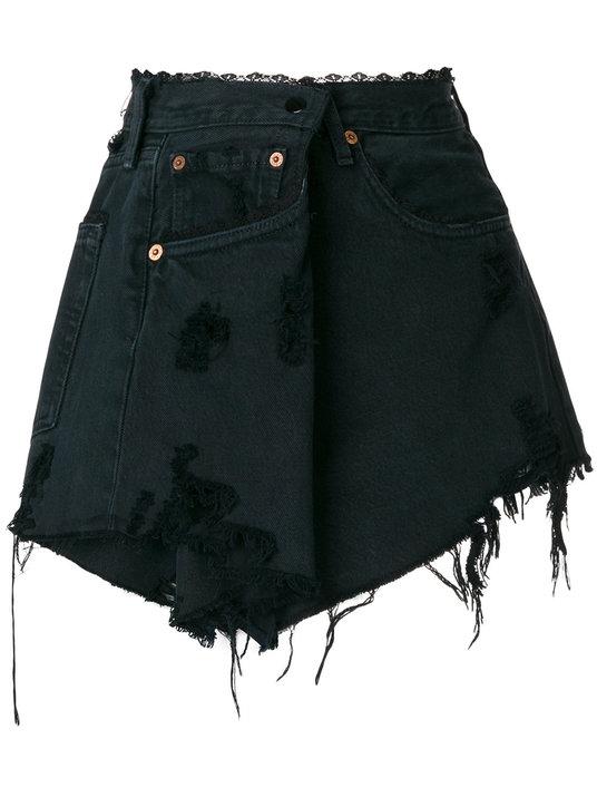 Almaz Distressed Denim Skirt