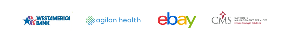 Westamerica Bank, Aglion Health, Ebay, CMS Catholic Management Services