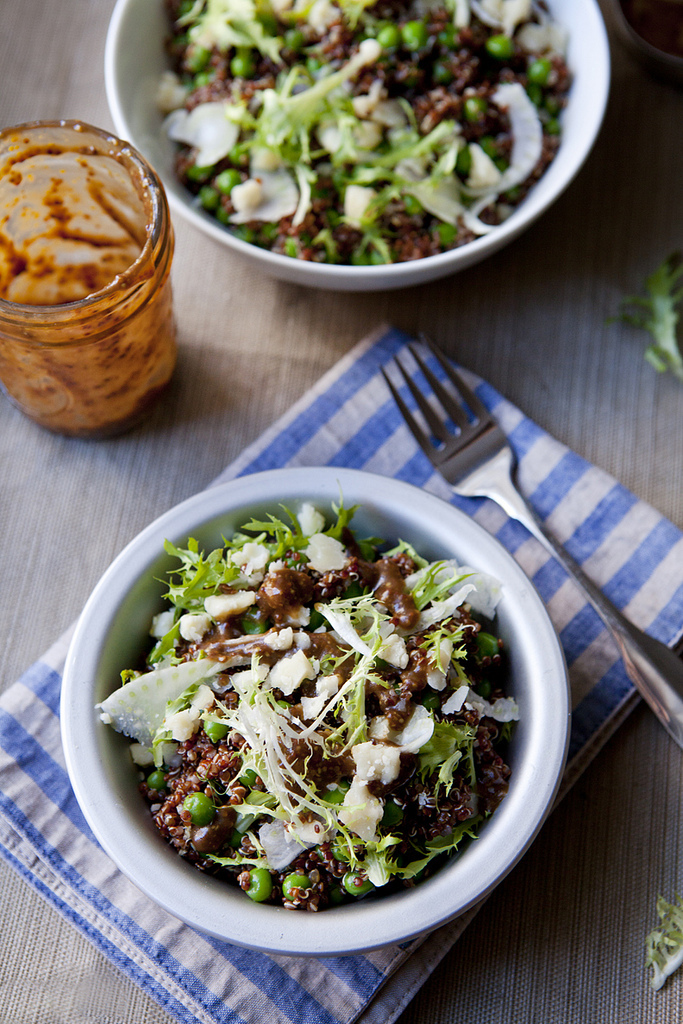 Red Quinoa Salad with Shaved Fennel, Sweet Peas & Whole-Grain Mustard Dressing (GF, V)