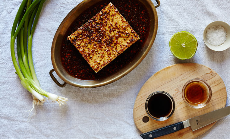 Spicy Tamari Tofu with Scallions & Lime