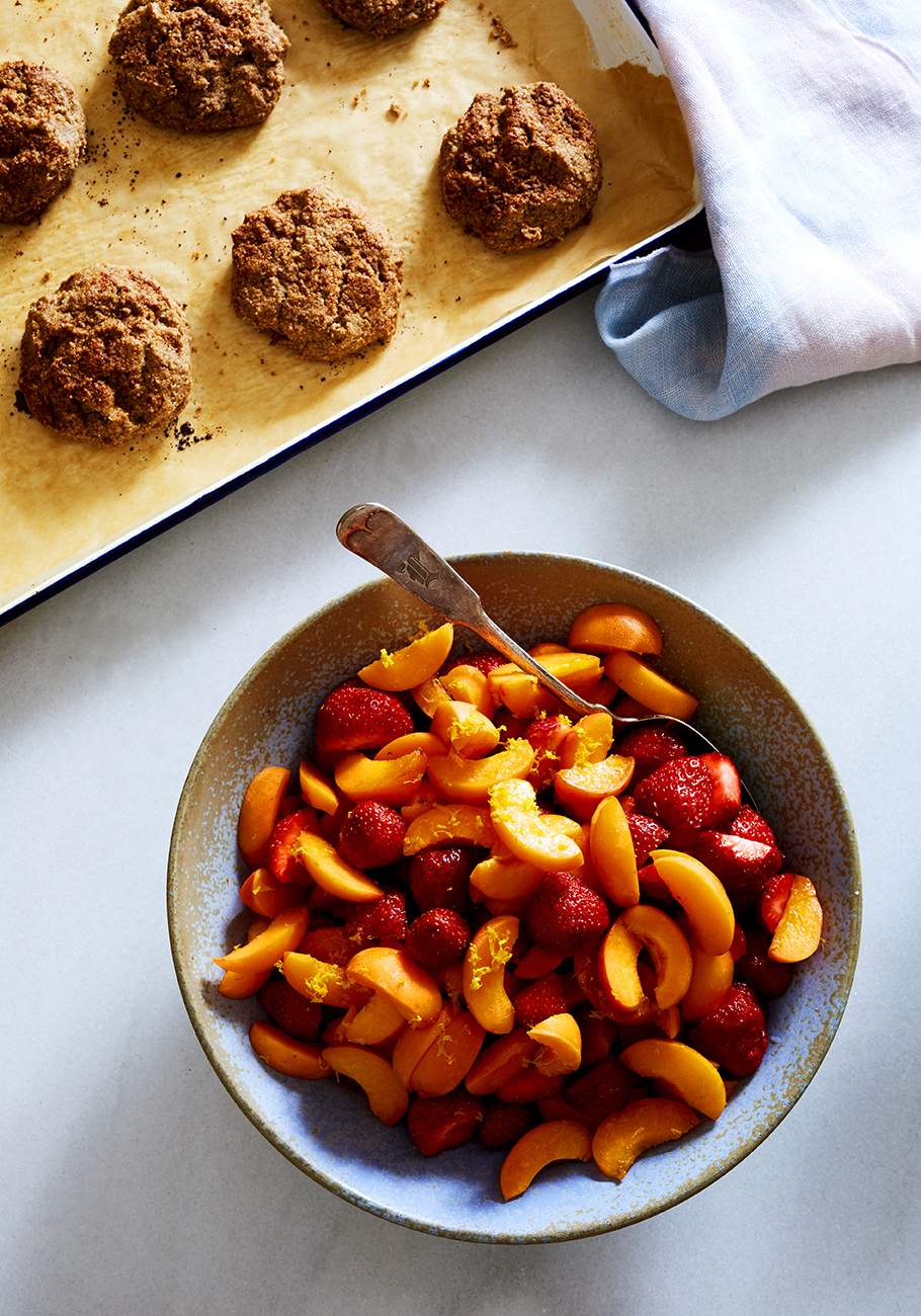 STRAWBERRY & APRICOT CORNMEAL COBBLER (gluten-free) — SK