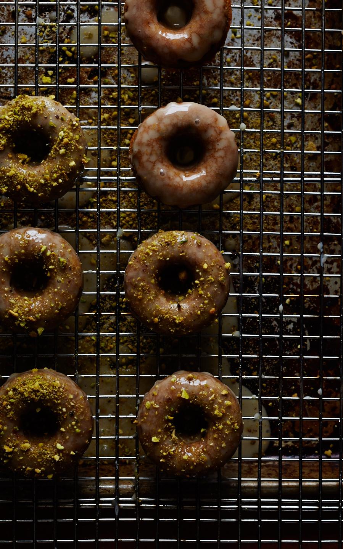 Pistachio Cardamom Doughnuts w/ Mascarpone Glaze (GF, V)