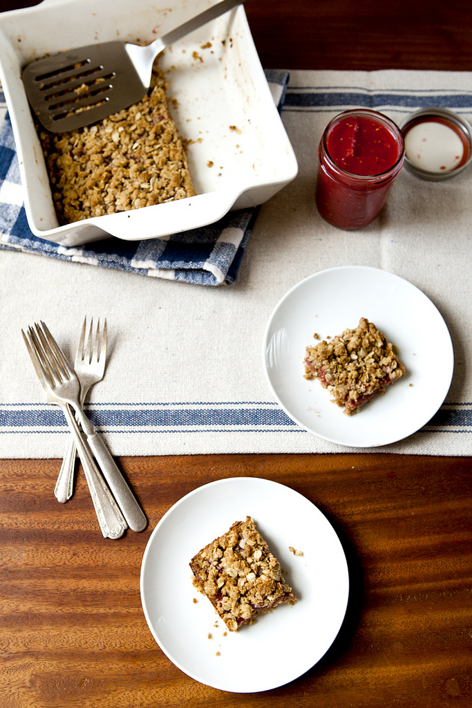Brown Butter Oat Bars with Rhubarb & Raspberry (GF, V)