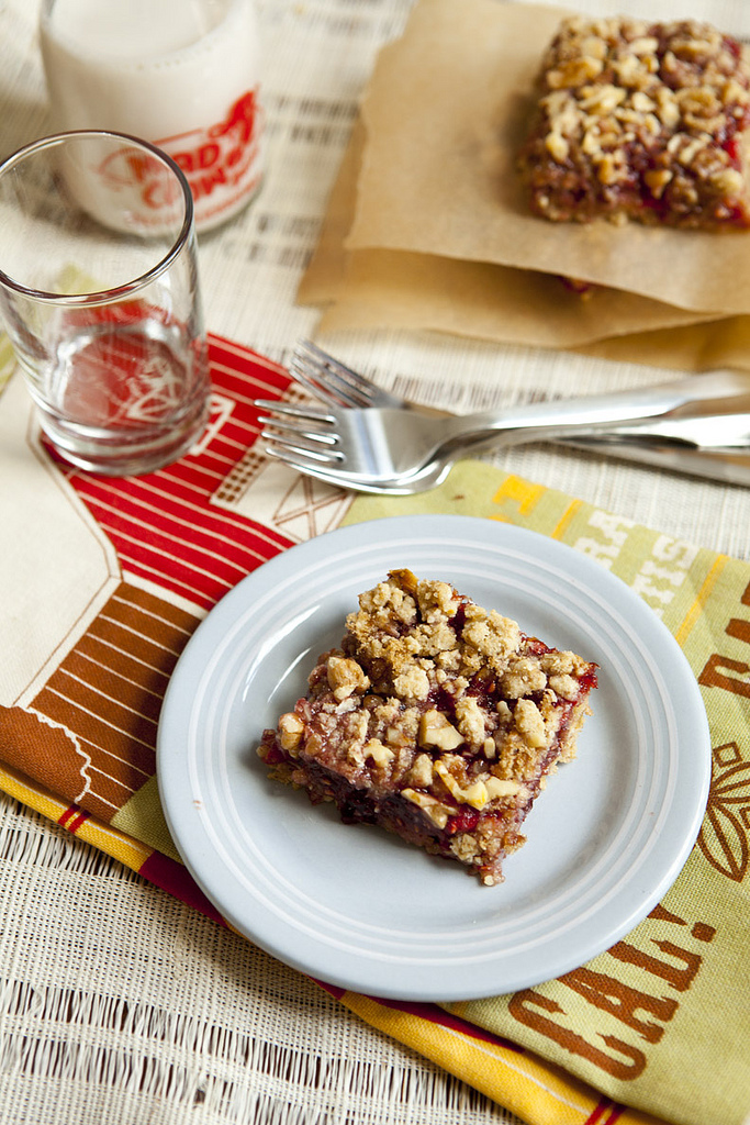 Raspberry & Sour Cherry Breakfast Oat Bars (GF, V+)