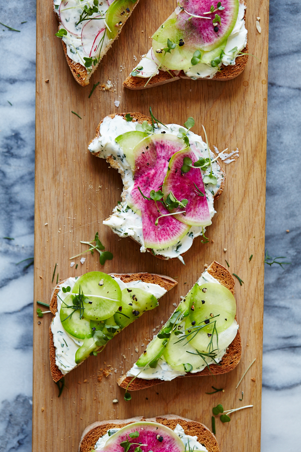 Herbed Goat Cheese & Radish Tartines (GF, V)