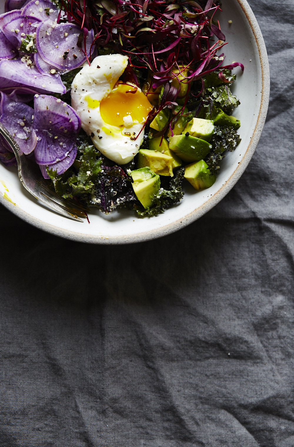 Raw Kale Caesar with Radish, Avo & Poached Egg (GF, V+)