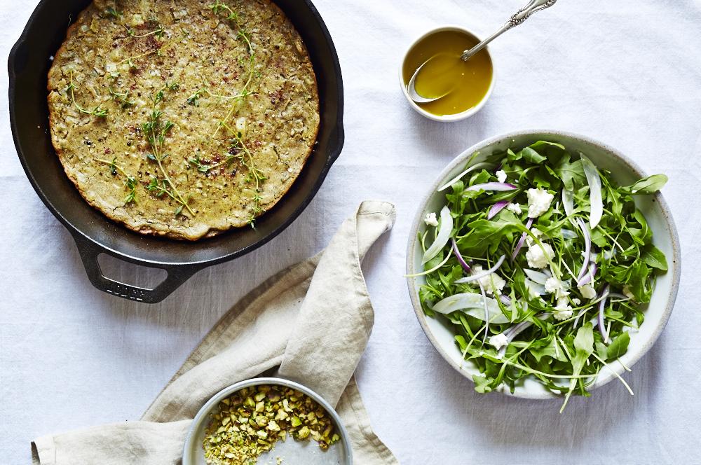 Thyme & Sumac Socca with Arugula Salad (GF, V)