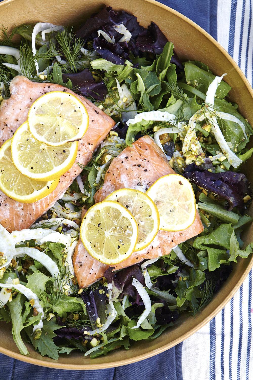 Salmon Salad w/ Fennel, Pistachio & Celery Vinaigrette (GF, DF)